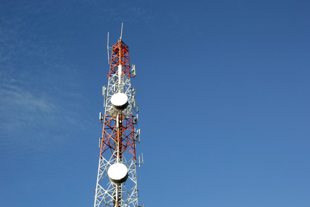 telecommunication tower with beautiful sky background Banco de Imagens