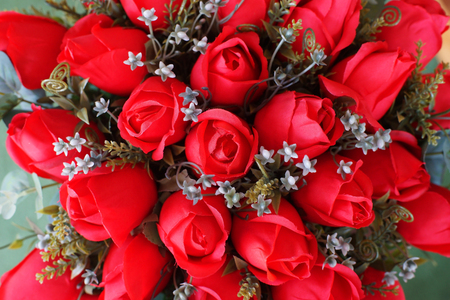 red rose artificial flower as valentine background