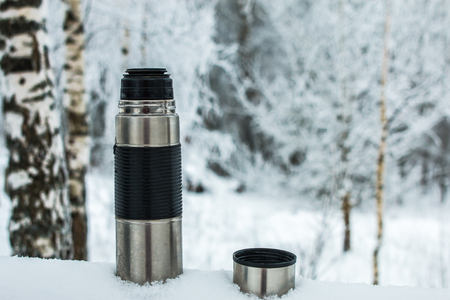 thermos in snow