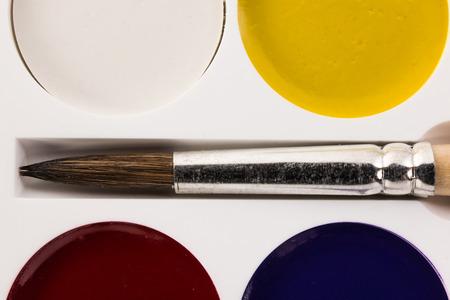 watercolors and brush closeup