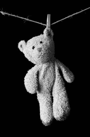 Teddy bear hanging on a rope.