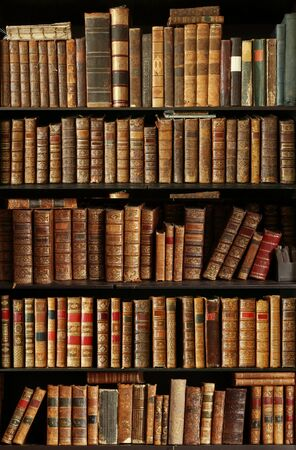 Old books in a library.