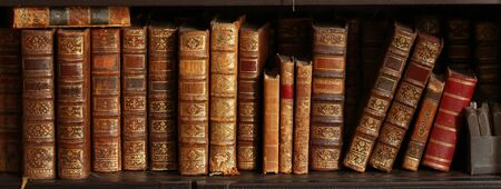 Old books on a wooden shelf.