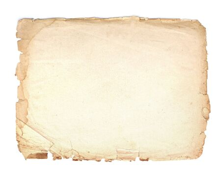 Old, vintage paper background isolated on white.