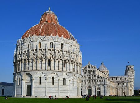 The Piazza del Duomo Cathedral Square is in the city of Pisa, Italy photo