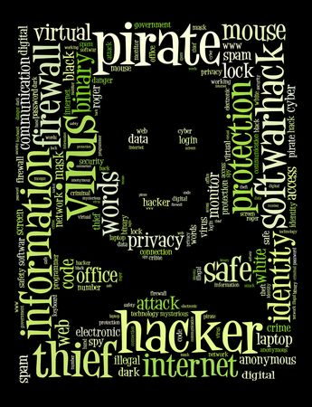 Jolly Roger, the piratess flag on the words regarding computer security and hackers   photo