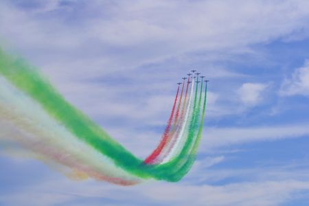 tricolour: The Frecce Tricolori  Tricolour Arrows  is the acrobatic demonstration team of the Italian Aeronautica Militare  They were formed in 1961 as an Air Force team  Stock Photo