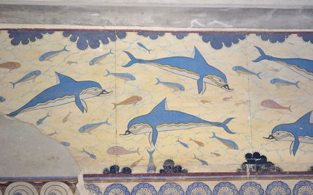 Blue dolphins ancient fresco in Knossos made in the 15th century BC   Crete, Greece   The palace of Knossos is one of the main centers of the Minoan civilization