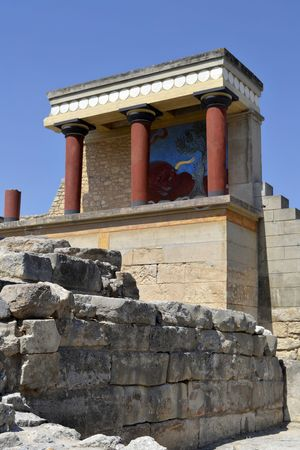 North Entrancein Knossos Palace  with charging bull fresco  15th century BC    Knossos in Crete,  is one of the main centers of the Minoan civilization