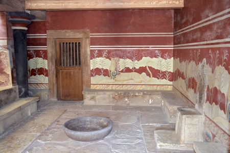 The Throne Room in Knossos, Crete  Greece   It was built in the 15th century BC  and it is considered the oldest throne room in Europe  The palace of Knossos is one of the main centers of the Minoan civilization
