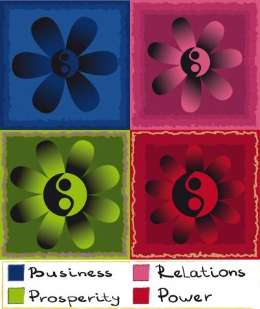 shui: Set di quattro colore simbolo del Feng Shui con Yin Yan, fiori e numeri Vettoriali