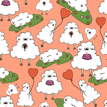 Seamless pattern sheep in cartoon style with flowers, cake and balloon Vector
