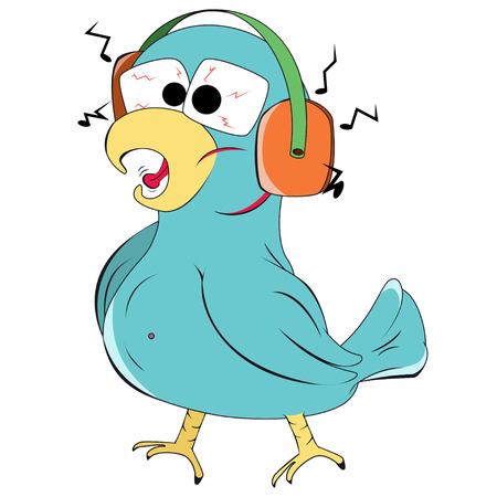 weariness: Crazy parrot with headphones and music isolated on a white background Illustration