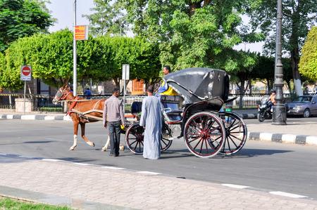 coachman: ASWAN, EGYPT - SEPTEMBER 21,2010: a horse-Drawn carriage with a coachman and men in Aswan