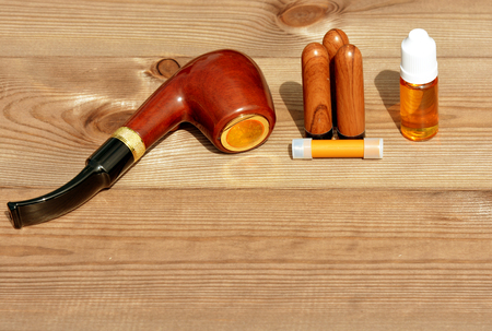 refills: Electronic Smoking pipe with liquid refills Stock Photo