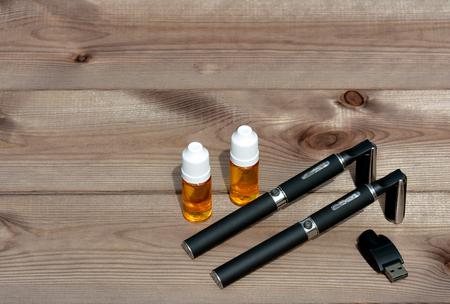 refilling: Electronic cigarette liquid bottles for refilling Stock Photo