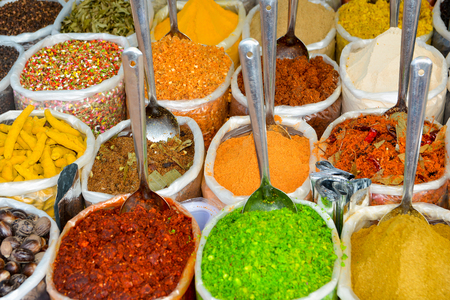 Indian spices at the market in Anjuna, North Goa.India