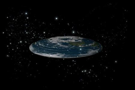 The old flat Earth inside stars in the black background, side view