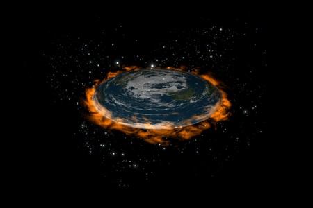 The old flat Earth inside stars and fire around on the black background, perspective view Stock Photo - 8668004