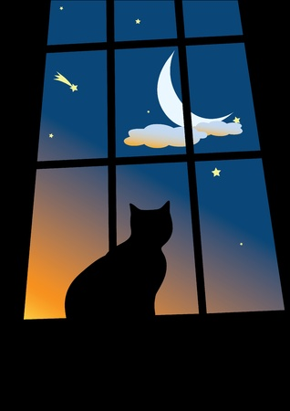 cat sitting on the window and looking on the morning sky with the moon in clouds and stars Stock Vector - 11267519