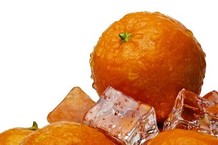 mandarines with drops in ice on the white background