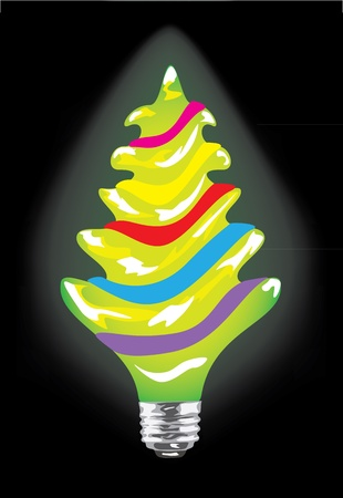 Bulb in the form of the Christmas pine on the black background Vector