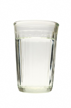wasser: glass with transparent liquid on white background Stock Photo