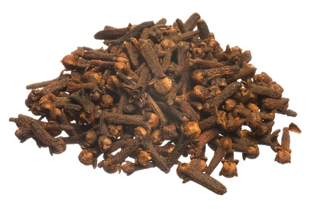 Small group of a dried cloves isolated on a white background