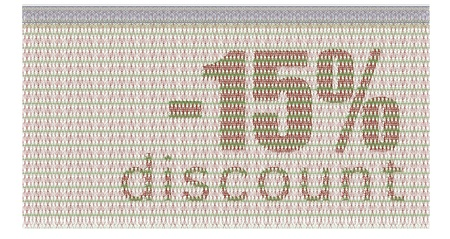 discount coupon -15% with the guilloche protection Vector