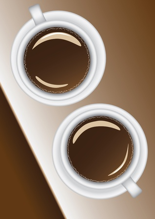two white cups with black coffee on the table top view Vector