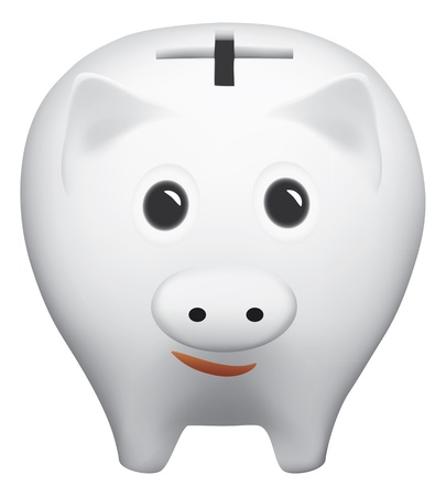Piggy bank with cross hole isolated on the white background Vector