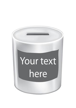 pensioen: spaarpot met uw tekst op witte achtergrond