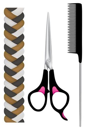 peineta: instrumentos peluquería, tijeras y peine con trenza de los pelos