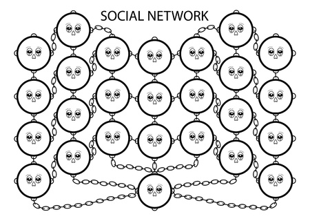family discussion: abstraction about social network dependence theme Illustration