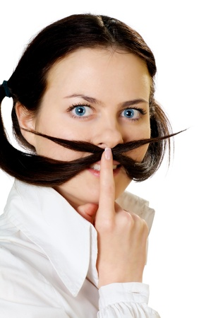 young woman is making a moustache of her hair isolated on the white Stock Photo - 12837494