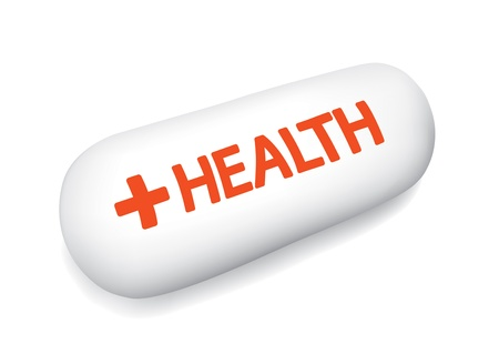 White Medical Tablet With Health Word on White Background Stock Vector - 12956038