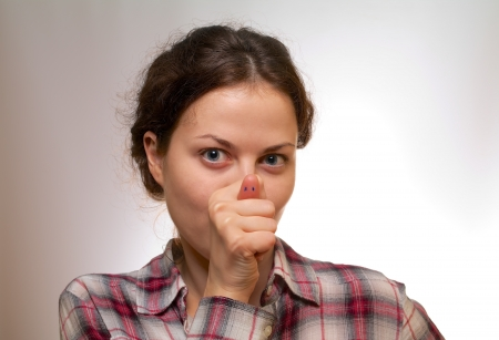 snout: girl joke and show pig snout Stock Photo