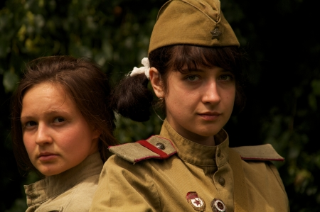 girls in military costums on celebration of 750 anniversary of Guryevsk (Neuhausen O.P.) on June 30, 2012 in Guryevsk, Kaliningradskaya oblast, Russia