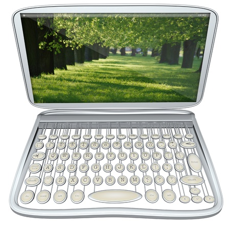 modern computer laptop with old style typewriter keyboard isolated on white background photo