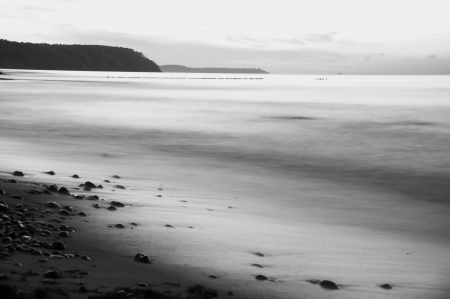mist silence cloudscape sea beach with breakwater Stock Photo - 15830325