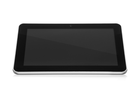 white tablet pc with black empty screen with reflection on white background Stock Photo - 16026193