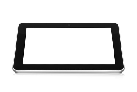 white tablet pc with black empty screen with reflection on white background