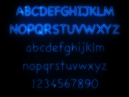 blue neon light fluorescent alphabet on black background photo