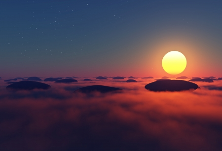 rocks in clouds with sun near horizon on night sky Stock Photo - 16922577