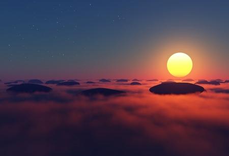 rocks in clouds with sun near horizon on night sky Stock Photo - 16922577