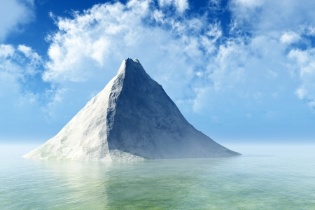 Single mountain peak with snow in calm sea with clouds in sky Stock Photo - 16986729