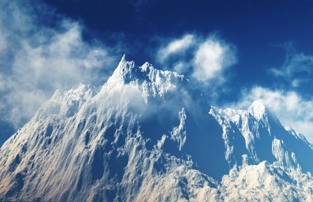 mountain peaks with down clouds on blue sky  Stock Photo - 17039900