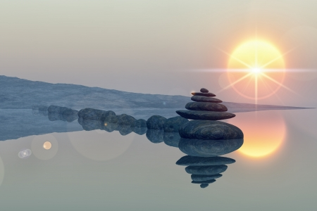 cairn: calm lake beach with stacked stones, reflections, sun, lens flare star