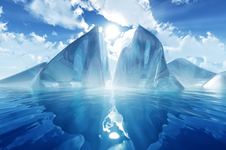 iceberg in calm sea with blue sky, sun rays and clouds