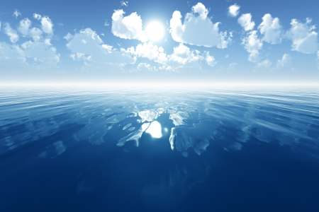 blue calm sea with reflected clouds on blue sky Stock Photo - 17806938